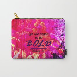 CALLED TO BE BOLD Floral Abstract Christian Typography Scripture Jesus God Hot Pink Purple Fuchsia Carry-All Pouch