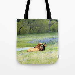 Horses & Bluebonnets Tote Bag