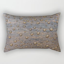 Water Drops on Wood 6 Rectangular Pillow