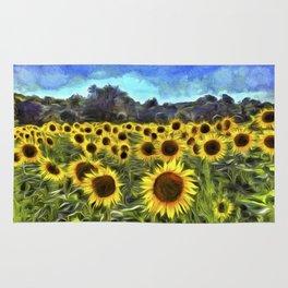 Sunflower Fields Of Summer  Van Goth Rug