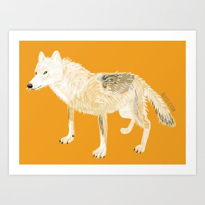 White totem (Canis lupus nubilus) (c) 2017 Art Print