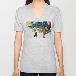 Colorful Landscape Art - The Dreaming Tree - By Sharon Cummings Unisex V-Neck