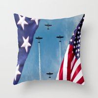 america Throw Pillows featuring America by TexasArt
