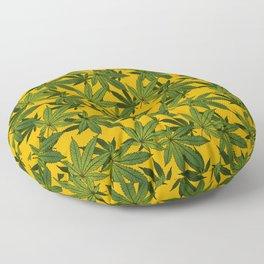 Cannabis Leaf - Gold Floor Pillow