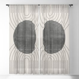 Black Geometric Arch Sheer Curtain