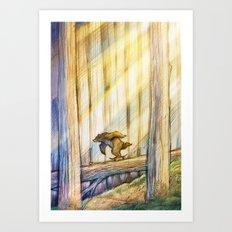 Bear Skating in Woods Art Print