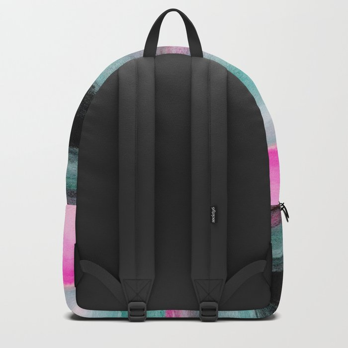 Abstract Pink & Green & Black painting Backpack