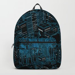 Night light city / Lineart city in blue Backpack
