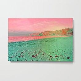Alien planet beach landscape bright pink green sky Metal Print