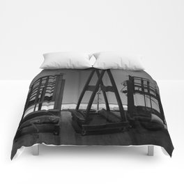 Easels in Black and White by David Hohmann Comforters