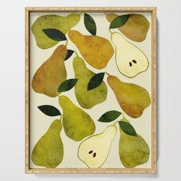 mediterranean pears watercolor Serving Tray