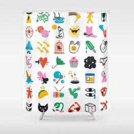 Relevant Symbols Shower Curtain