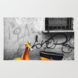 Orange Vespa in Bologna Black and White Photography Rug