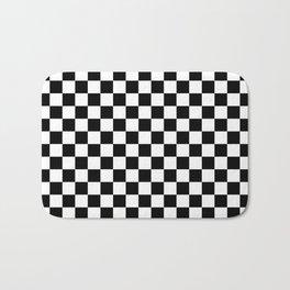 Black Checkerboard Pattern Bath Mat