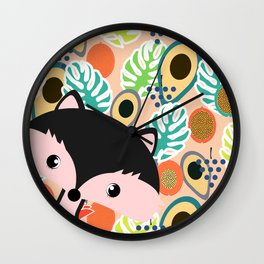Fox, leaves and tropical fruits Wall Clock