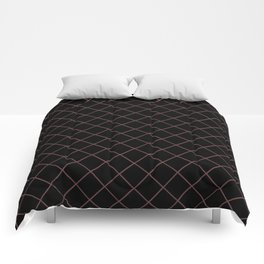 Pantone Red Pear Thin Line Stripe Grid (Pinstripe Pattern) on Black Comforters