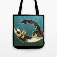 ferret Tote Bags featuring Ferret by Ana del Valle Store