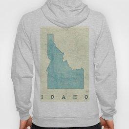 Idaho State Map Blue Vintage Hoody