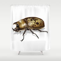 beetle Shower Curtains featuring Beetle by BigRedSharks
