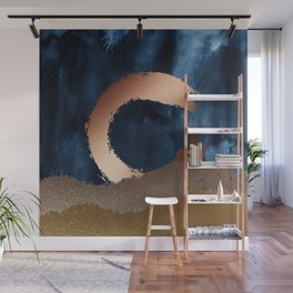 Navy Blue, Gold And Copper Abstract Art Wall Mural