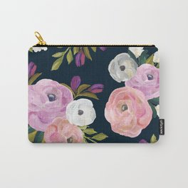 Midnight Florals - Pink & Purple Carry-All Pouch