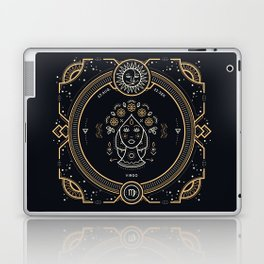 Virgo Zodiac Gold White on Black Background Laptop & iPad Skin
