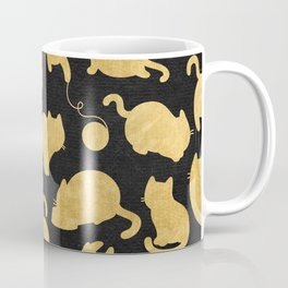 Gold on Black Kitty Pattern Coffee Mug