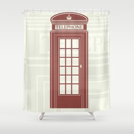 figure of a red telephone booth in England Shower Curtain