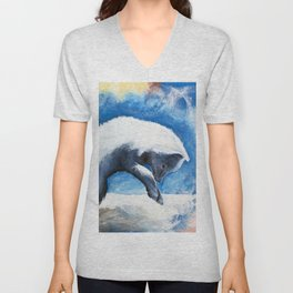 Animal - Antoine the Artic Fox - by LiliFlore Unisex V-Neck