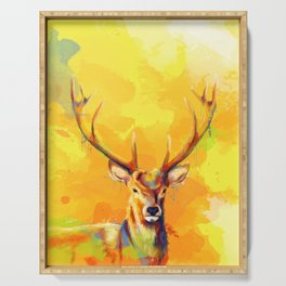 Forest King - Deer painting Serving Tray