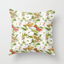 Magnolia/ Birds Throw Pillow