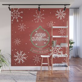 New Year Christmas winter holidays cute outline pattern Wall Mural