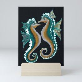 Two Teal Green Seahorses Mixed Media Drawing Mini Art Print