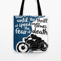 hunter s thompson Tote Bags featuring Hunter S. Thompson Moto Girl  by Peated Proverbs