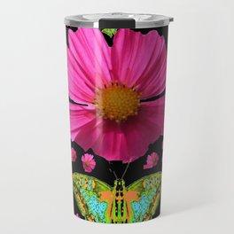 FUCHSIA PINK COSMO FLORALS GREEN MOTHS Travel Mug