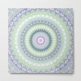 Heirloom Mandala in Pastel Green and Purple Metal Print