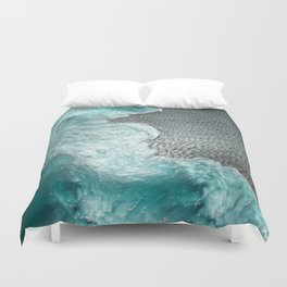 """""""Sea foam dancing on the blue ocean and gray sand"""" Duvet Cover"""