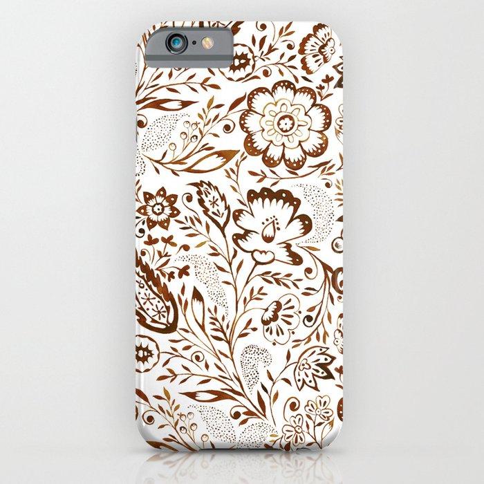 Folk Floral Brown iPhone Case