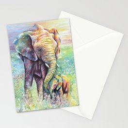 Colorful Mother Elephant and Baby Stationery Cards