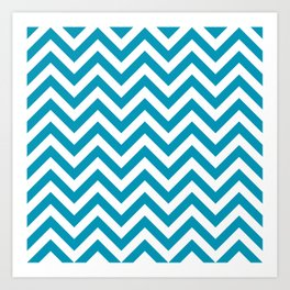 Blue Green Chevrons Pattern Art Print