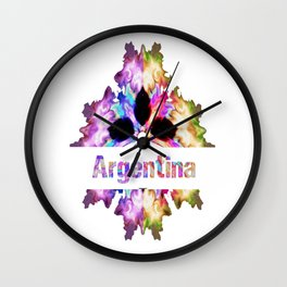 Argentina gift tie dye watercolor  Wall Clock
