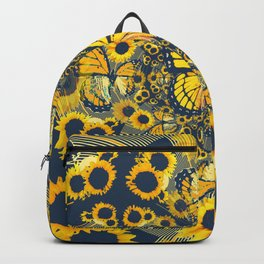 YELLOW MONARCH BUTTERFLY & GREY MODERN FLORAL ART Backpack