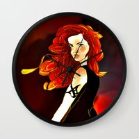 the mortal instruments Wall Clocks featuring Clary Fray from The Mortal Instruments by Cassandra Clare by Amitra Art