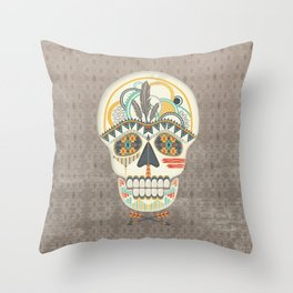 AZTEC SKULL B/W  Throw Pillow