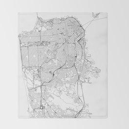 San Francisco White Map Throw Blanket