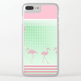 Baby Pink And Mint Green Flamingo Clear iPhone Case