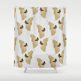 Butterfly & Palm Leaf, Gold Wall Art Shower Curtain