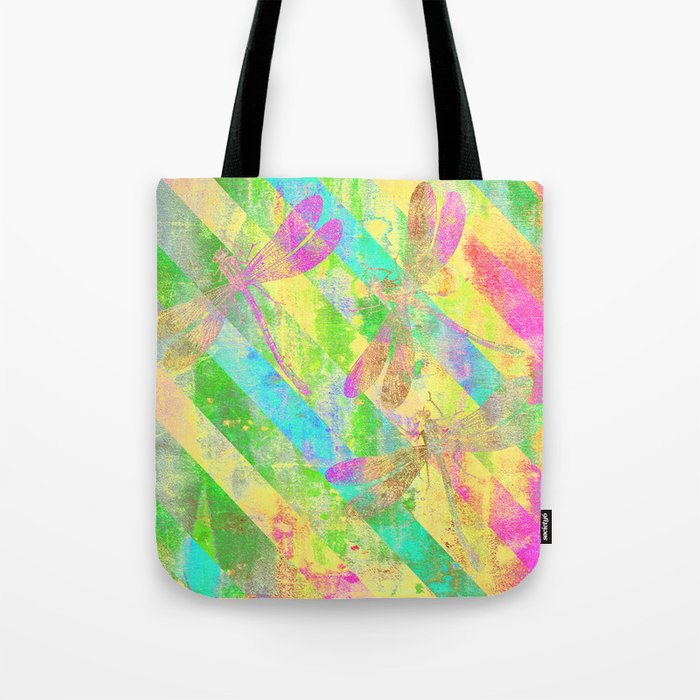 A Dragonflies and Stripes Y Tote Bag
