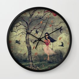 Girl on a swing in the woods Wall Clock