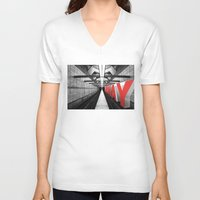 subway V-neck T-shirts featuring LA subway by Vin Zzep